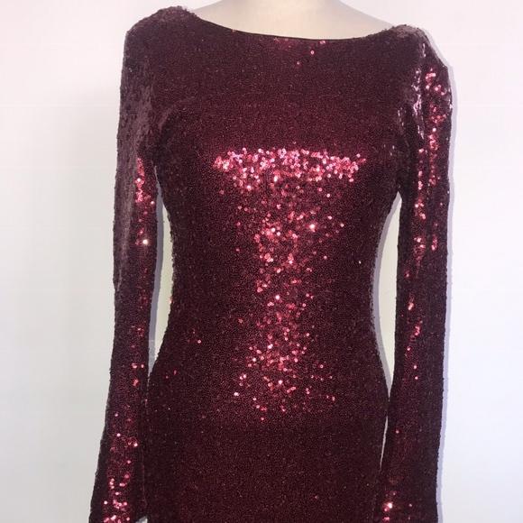 b85572e3 Charlotte Russe Dresses | Burgundy Long Sleeve Sequin Dress | Poshmark
